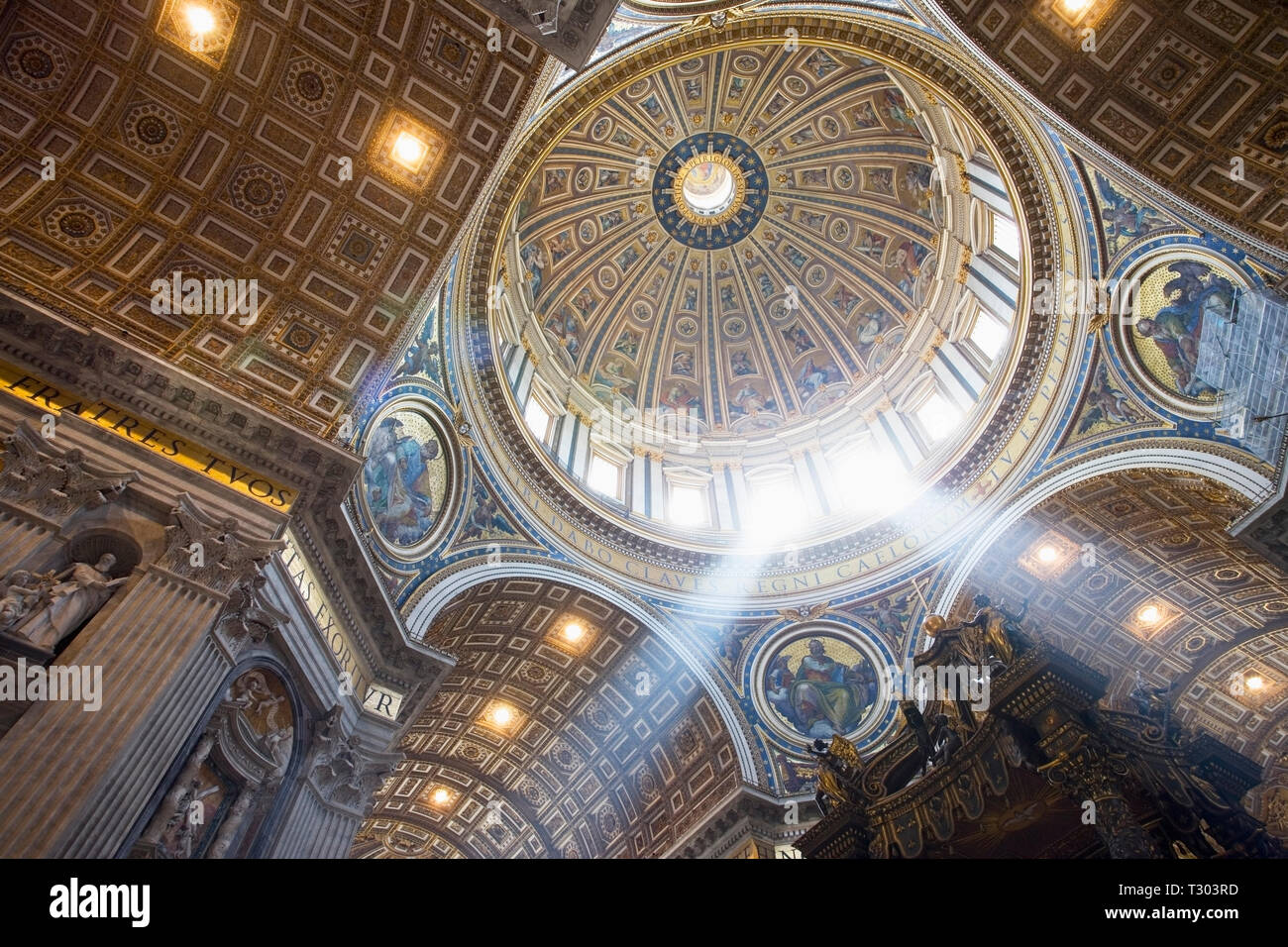 Interior of the dome of St Peters Basilica. The Vatican, Rome, Italy. - Stock Image