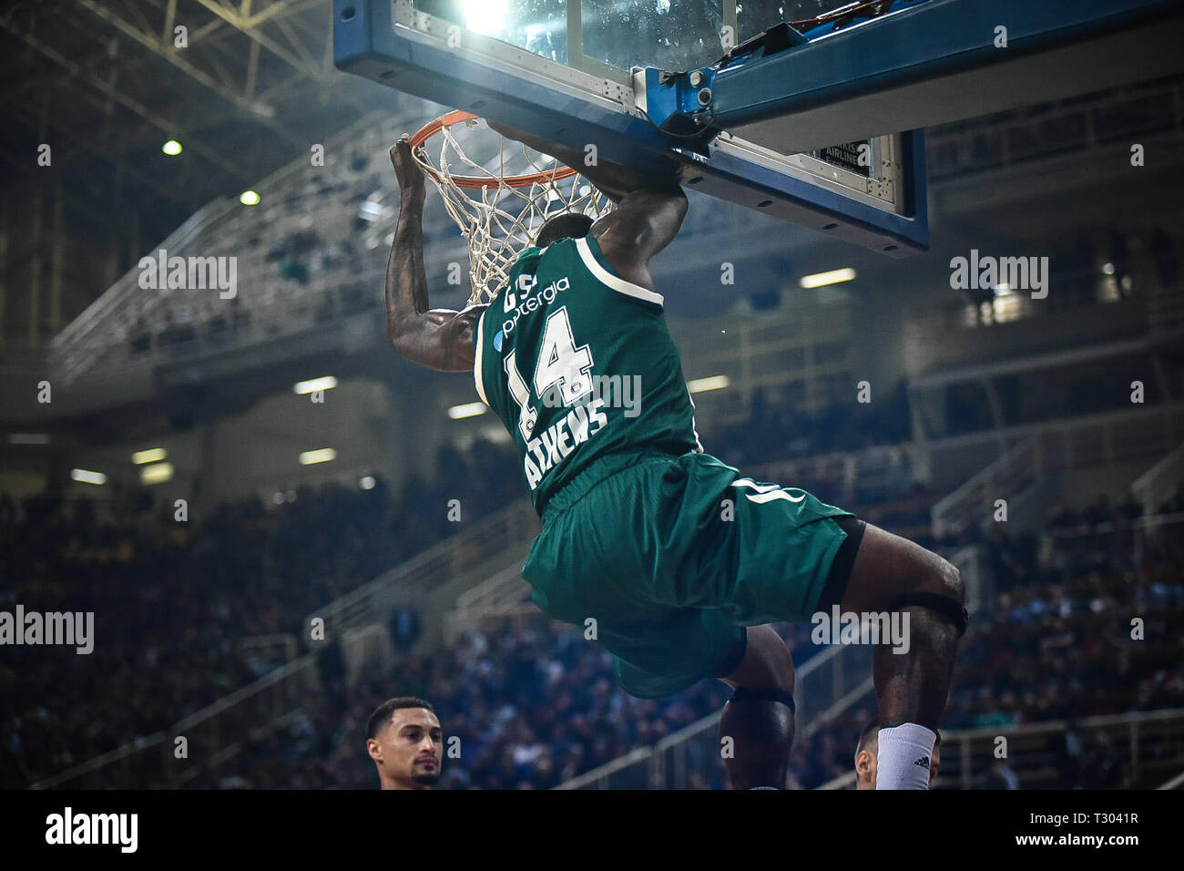 James Gist of Panathinaikos BC seen in action during the Turkish Airlines Euro league round 30 basketball match between Panathinaikos BC  and Buducnost VOLI at the Olympic Indoor Hall. score 87-67. Stock Photo