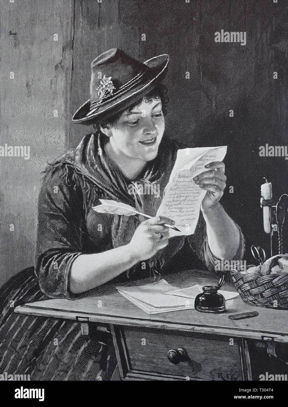 Digital improved reproduction, To the treasure, painted from R. Epp, farmer has written a letter to her lover with the feather, An den Schatz, gemalt von R. Epp, Bäuerin hat mit der Feder einen Brief an ihren Geliebten geschrieben, from an original print from the 19th century - Stock Image