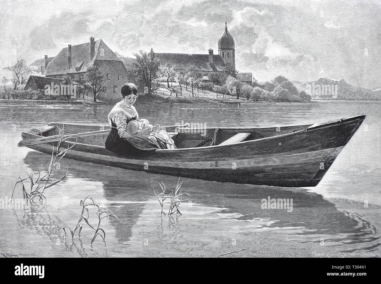 Digital improved reproduction, Peaceful mood in Lake Chiem, in a small boat sits a woman in the holiday dress and holds her baby in the arm, Friedliche Stimmung am Chiemsee, In einem Kahn sitzt eine Frau im Feiertagskleid und hält ihr Baby im Arm, from an original print from the 19th century - Stock Image