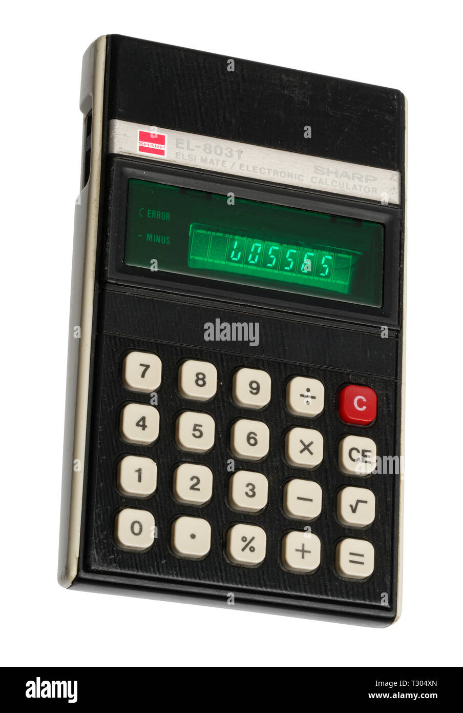 1970's pocket calculator. Simple arithmetic machine, handheld device. Sharp ELSI MATE EL-8031. The word LOSSES spelt out on the display. Stock Photo