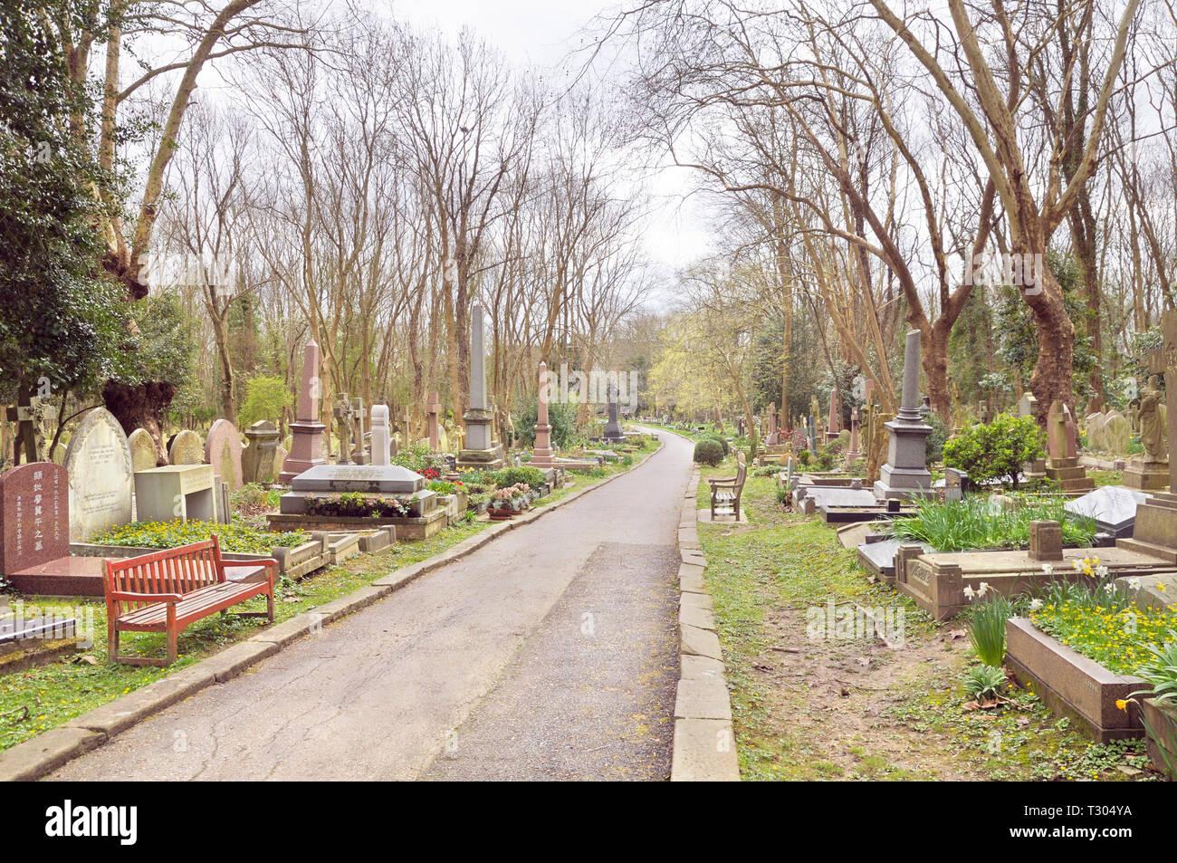 Highgate Cemetery, London, England, UK - Stock Image