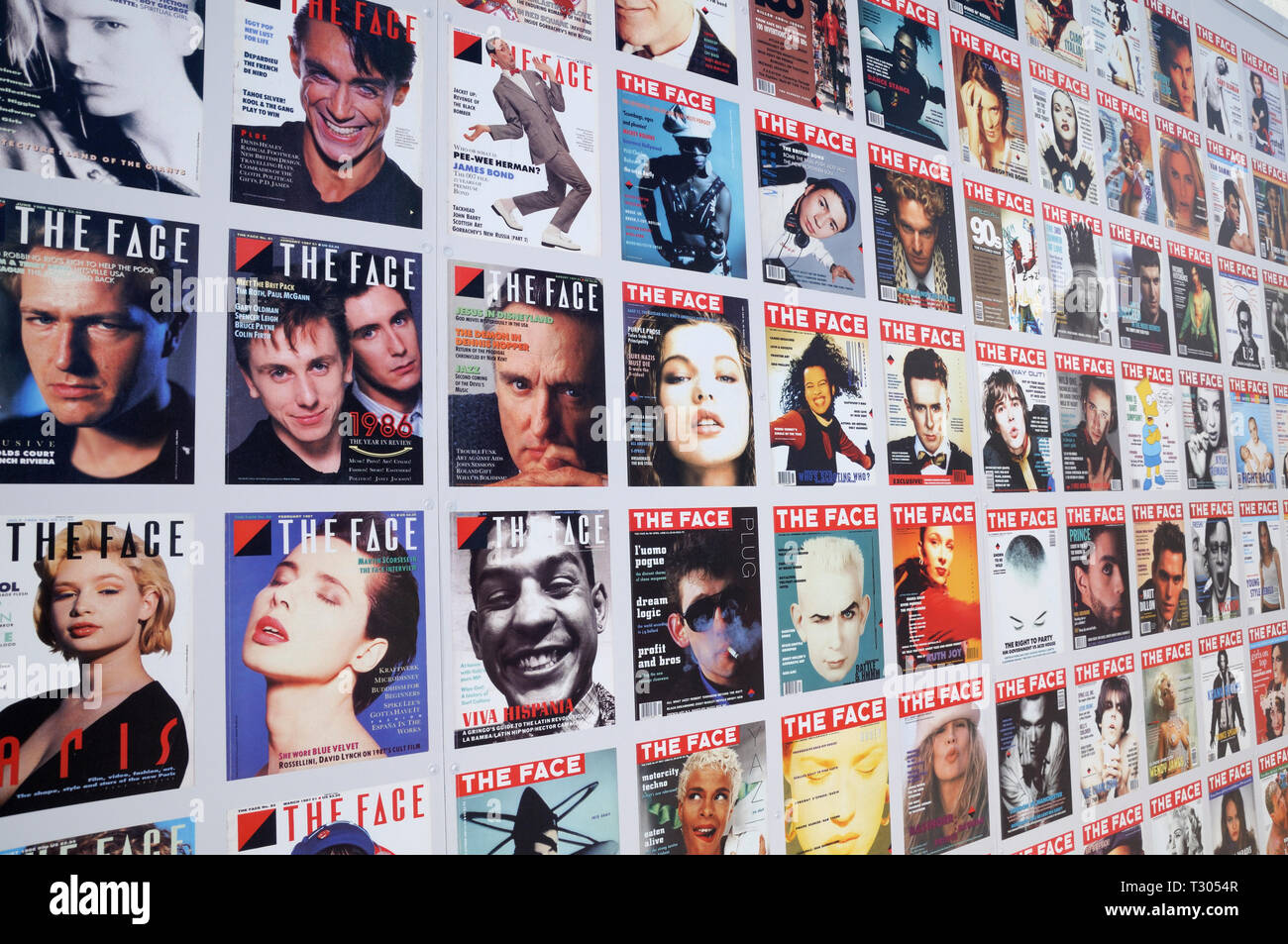 Iconic front cover portraits of THE FACE magazine featuring movers and shakers from music, fashion, film and entertainment, King's Cross, London, UK - Stock Image