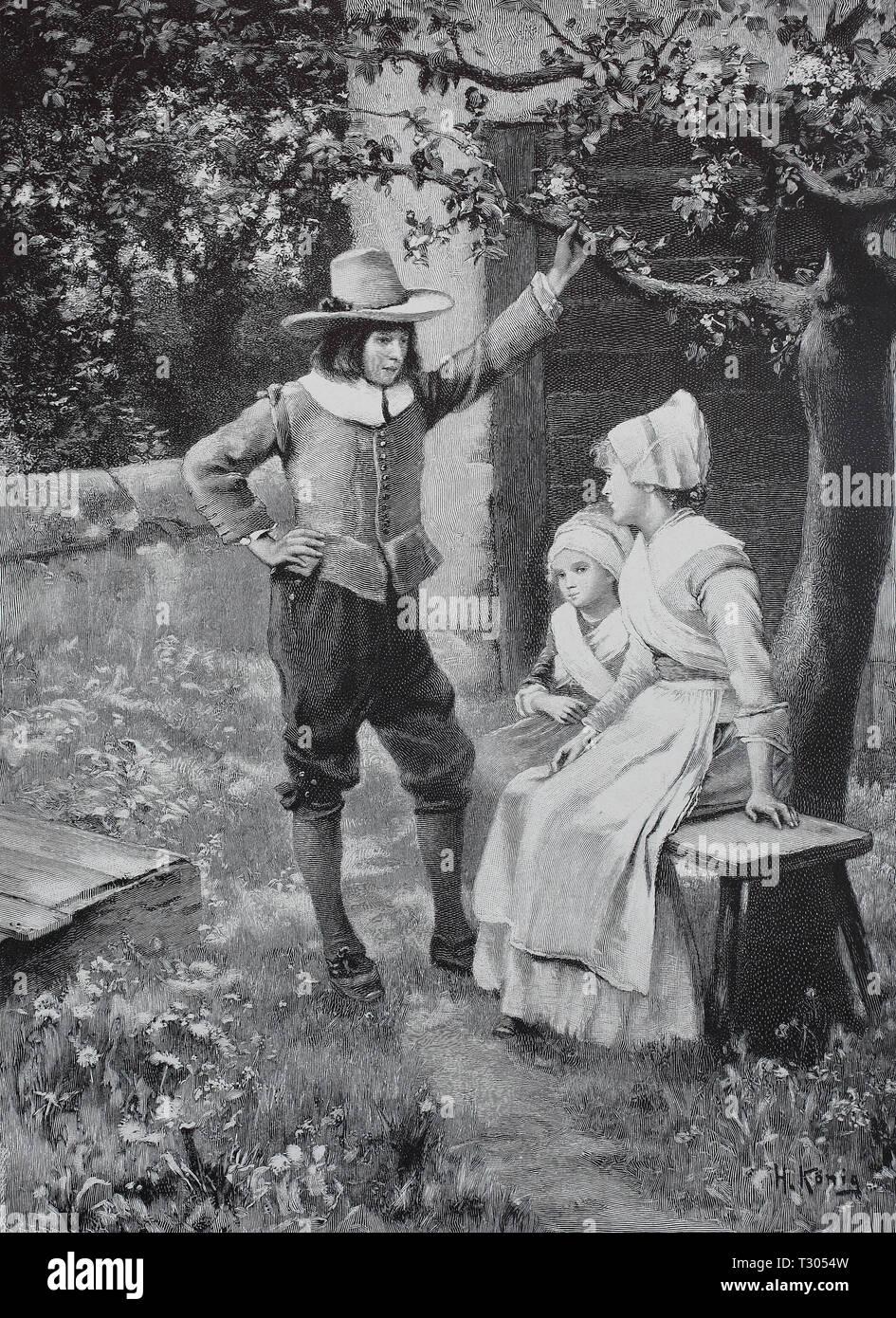 Digital improved reproduction, Under an apple tree youngsters meet in the garden, Unter einem Apfelbaum treffen sich Jugendliche im Garten, from an original print from the 19th century Stock Photo