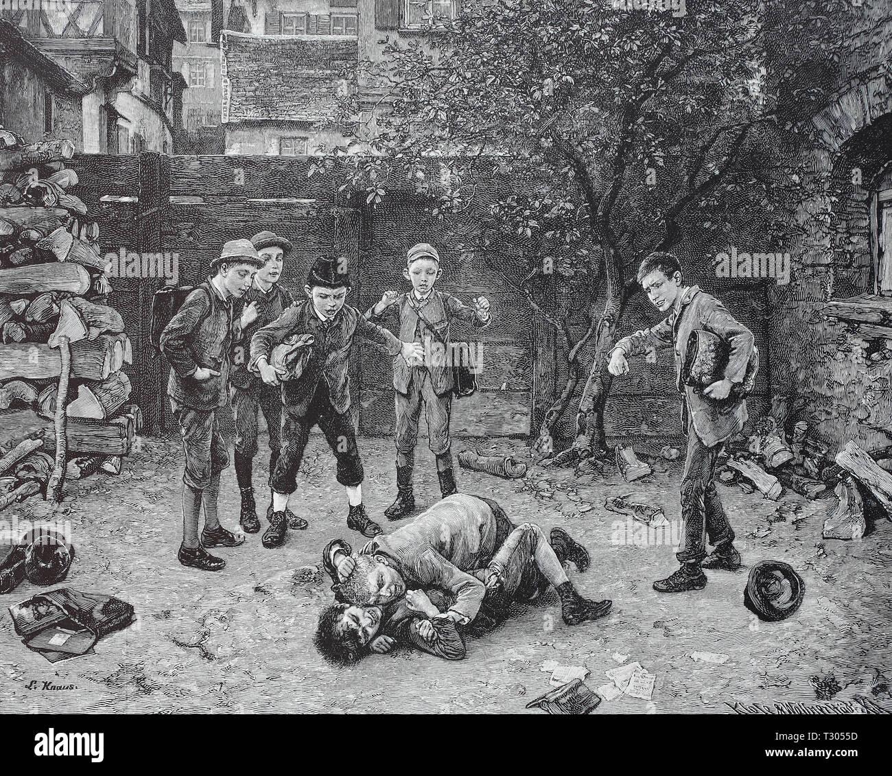 Digital improved reproduction, School boys with the playful duel, Schuljungen beim spielerischen Zweikampf, from an original print from the 19th century Stock Photo