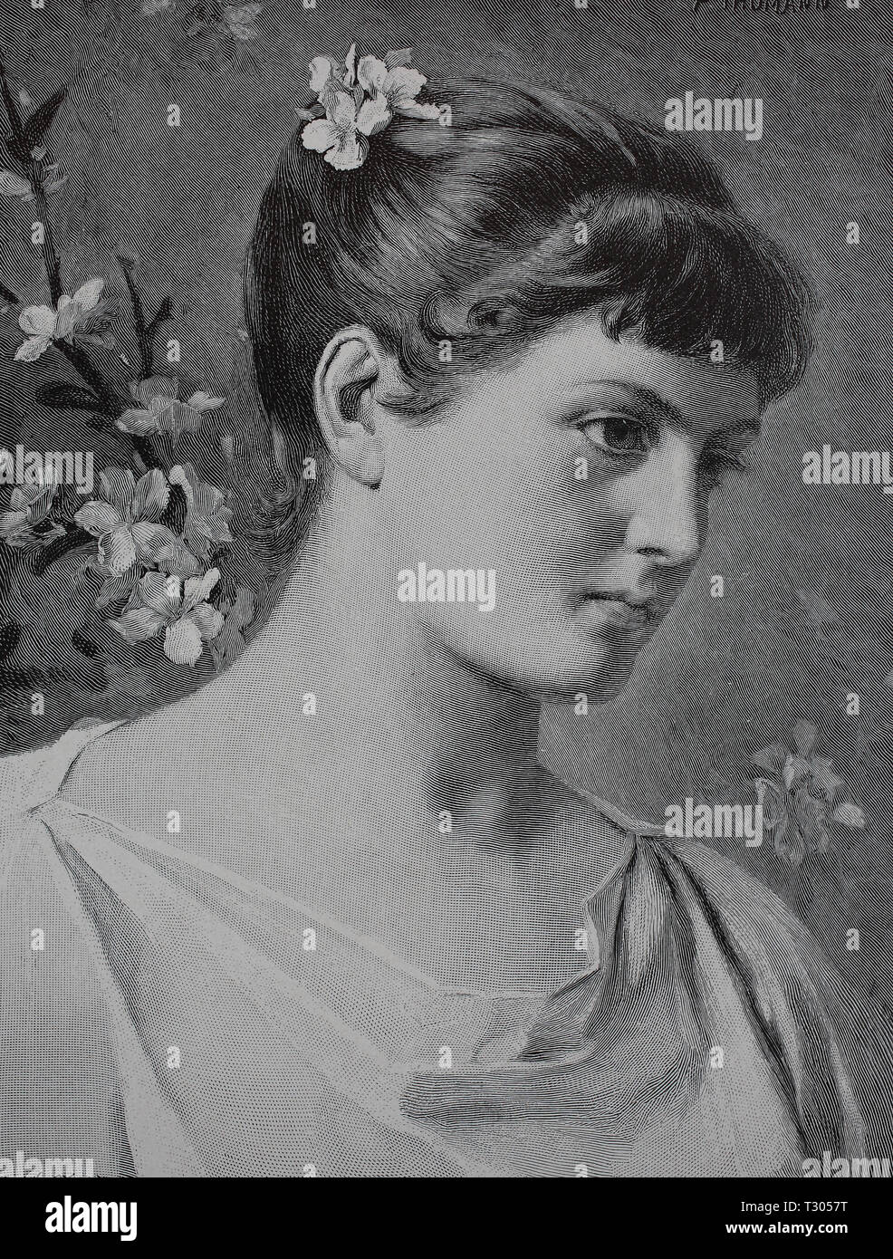Digital improved reproduction, Girls with apple blossoms in the hair and in the background, Mädchen mit Apfelblüten im Haar und im Hintergrund, from an original print from the 19th century Stock Photo