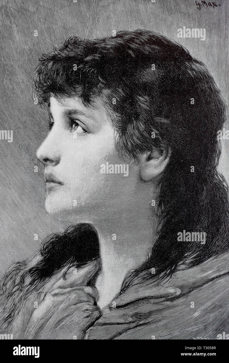 Digital improved reproduction, Young dark-haired woman in the profile with longing look, Junge dunkelhaarige Frau im Profil mit sehnsüchtigem Blick, from an original print from the 19th century Stock Photo