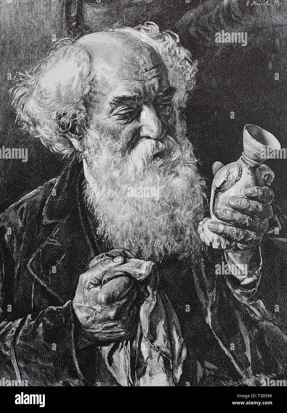 Digital improved reproduction, The collector, old man with full beard cleans a porcelain vase from his collection, Der Sammler, alter Mann mit Vollbart putzt eine Porzellanvase aus seiner Sammlung, from an original print from the 19th century - Stock Image