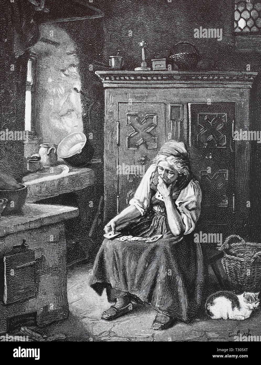 Digital improved reproduction, old Kartenlegerin in her room, has spread out the maps on her apron, alte Kartenlegerin in ihrem Zimmer, hat die Karten auf ihrer Schürze ausgebreitet, from an original print from the 19th century - Stock Image