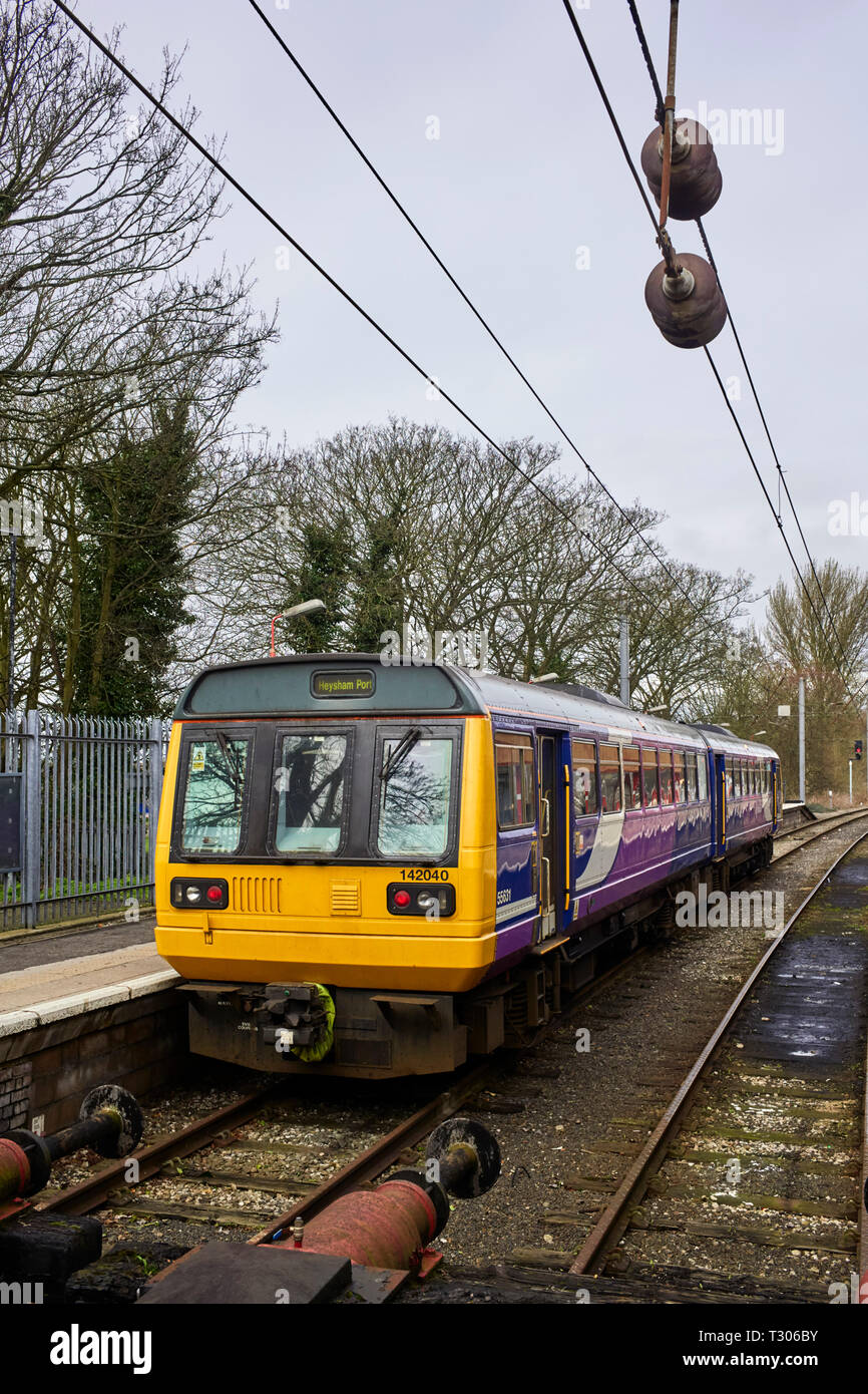 Pacer train class 142 at Lancaster Station heading for Heysham Port - Stock Image
