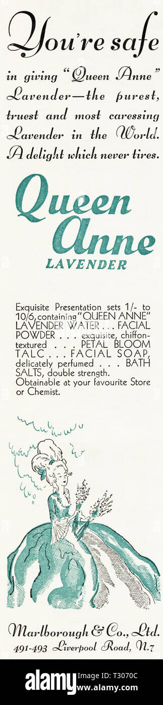 Original 1930s vintage old print advertisement from 30s English magazine advertising Queen Anne Lavender cosmetics by Marlborough & Co Ltd of Liverpool Street London N7 England UK circa 1932 - Stock Image