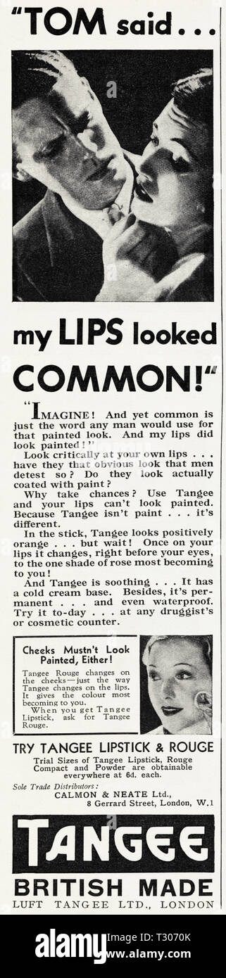 Original 1930s vintage old print advertisement from 30s English magazine advertising lipstick & rouge by Luft Tangee Ltd of London England UK circa 1932 - Stock Image