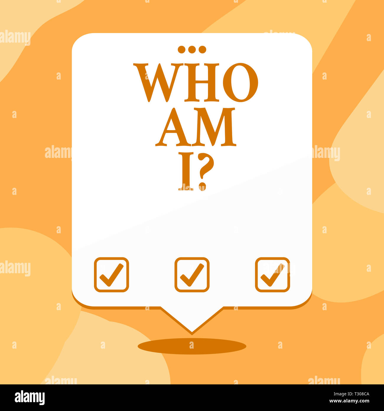Conceptual hand writing showing Who Am I Question. Concept meaning when asking about your identity and demonstratingality properties White Speech Ball - Stock Image