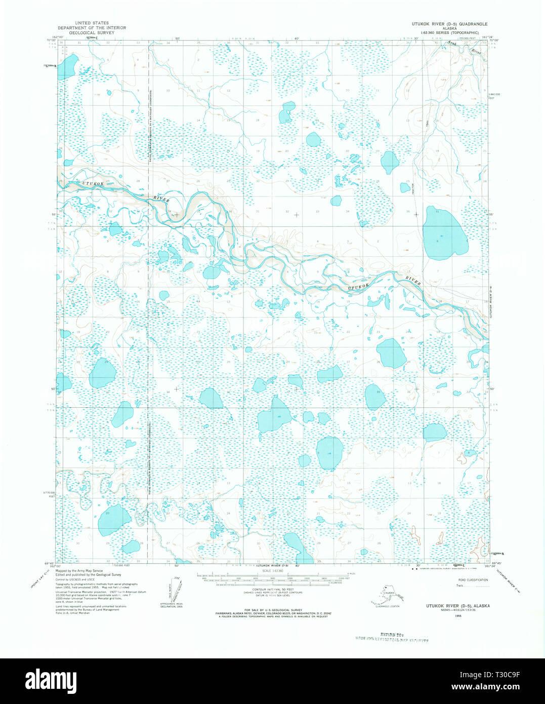 USGS TOPO Map Alaska AK Utukok River D-5 360272 1955 63360 ...