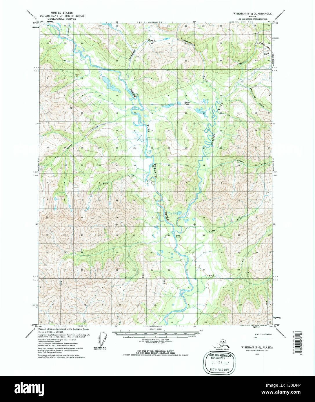 USGS TOPO Map Alaska AK Wiseman B-2 360450 1971 63360 ...