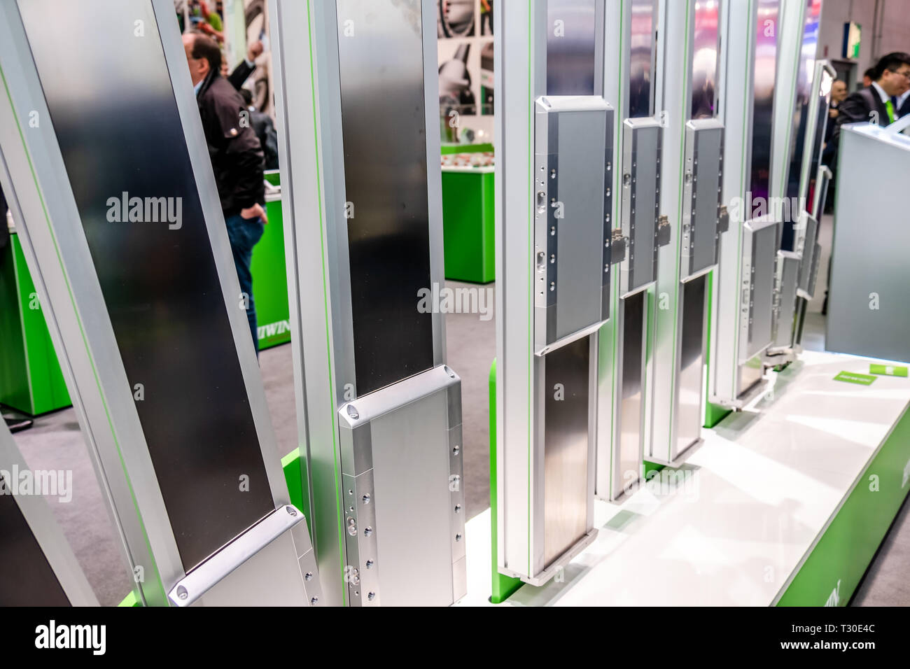 HANNOVER / GERMANY - APRIL 02 2019 : IBG is presenting their newest innovations at the Hannover Messe. - Stock Image