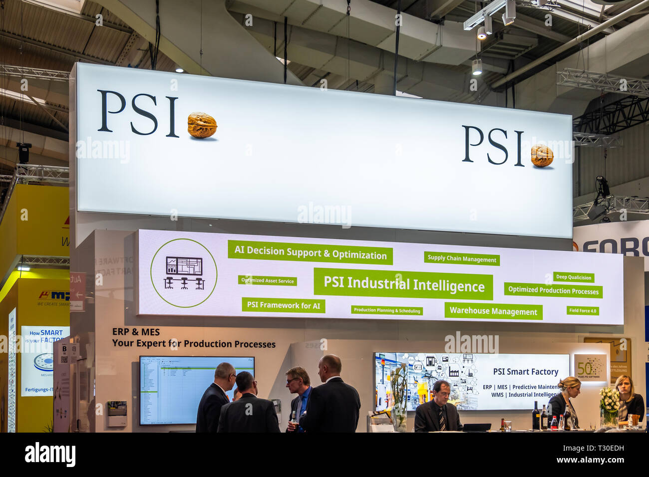 HANNOVER / GERMANY - APRIL 02 2019 : PSI is displaying new innovations at the Hannover Messe. - Stock Image