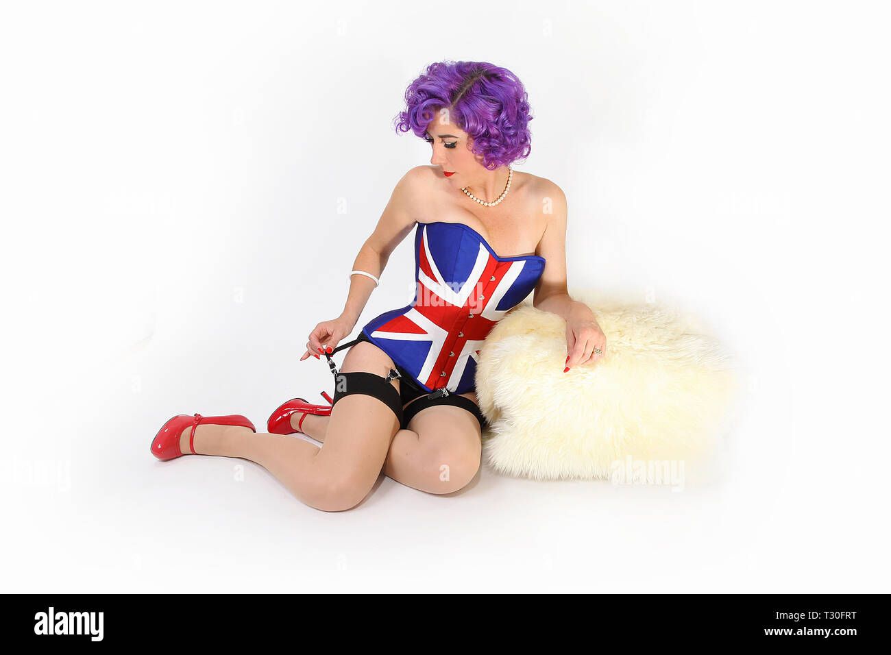union Jack Pin up girl, Brexit - Stock Image