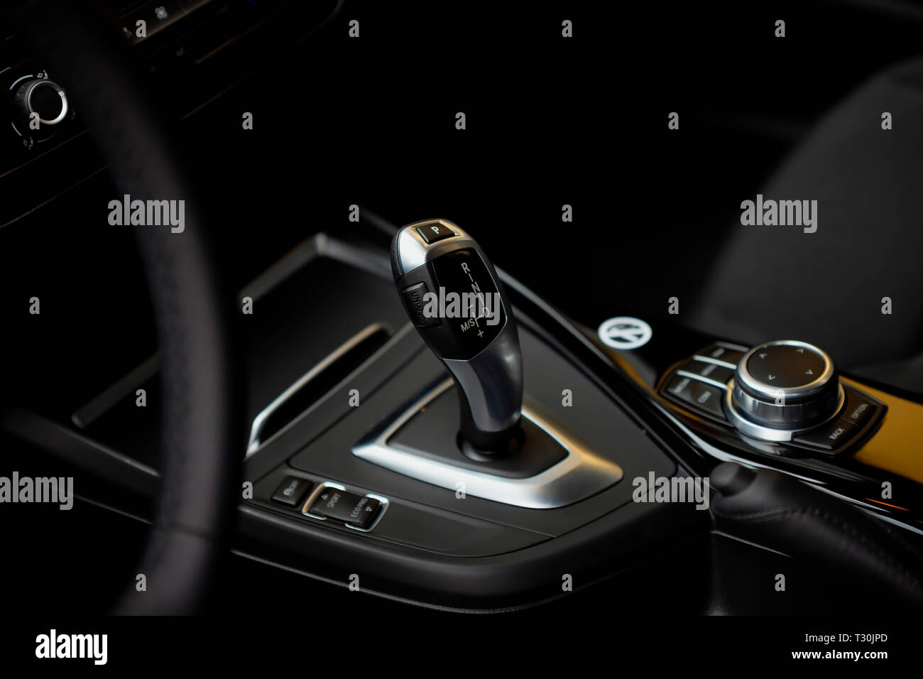 Detail of the gear lever of the new BMW 118i of the 1 series. Image taken on April 4, 2019 in Madrid, Spain. - Stock Image