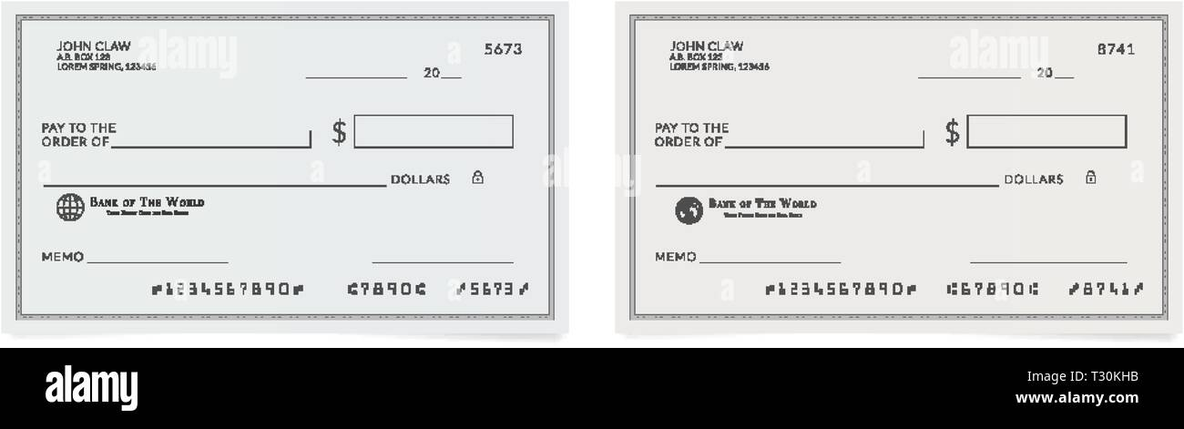 Checkbook Page Bank Check Template Blank Cheque Stock Vector Image Art Alamy