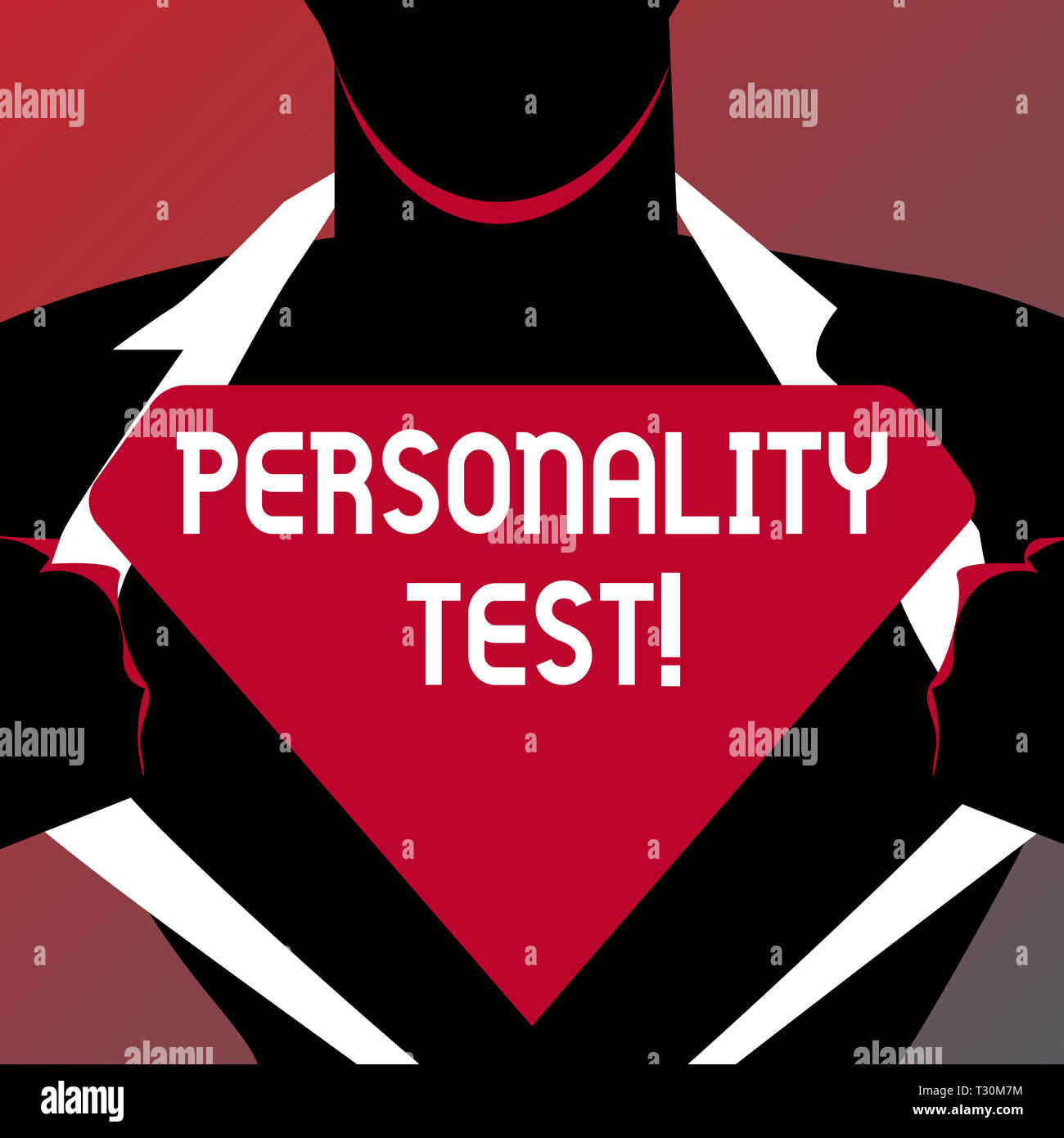 Conceptual hand writing showing Personality Test. Concept meaning method used assessing huanalysis demonstratingality constructs Man Opening his Shirt - Stock Image