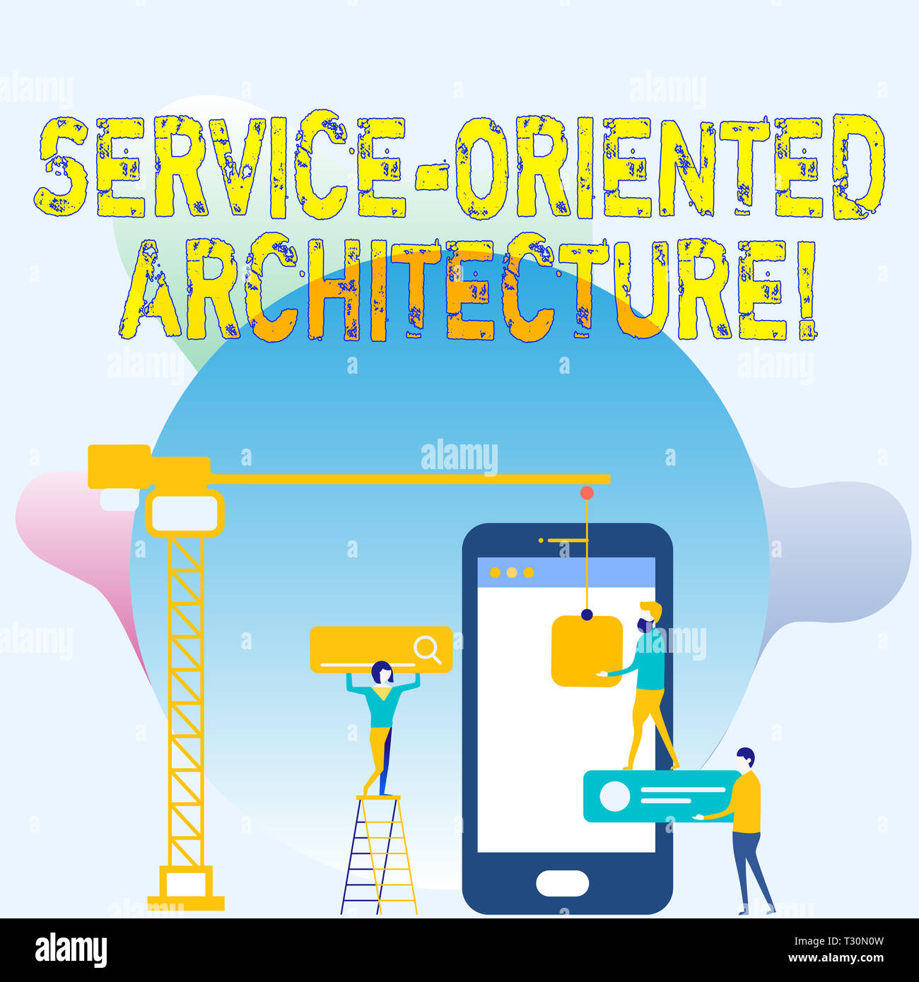 Conceptual hand writing showing Service Oriented Architecture. Concept meaning services communicate with each other Staff Working Together Target Goal - Stock Image