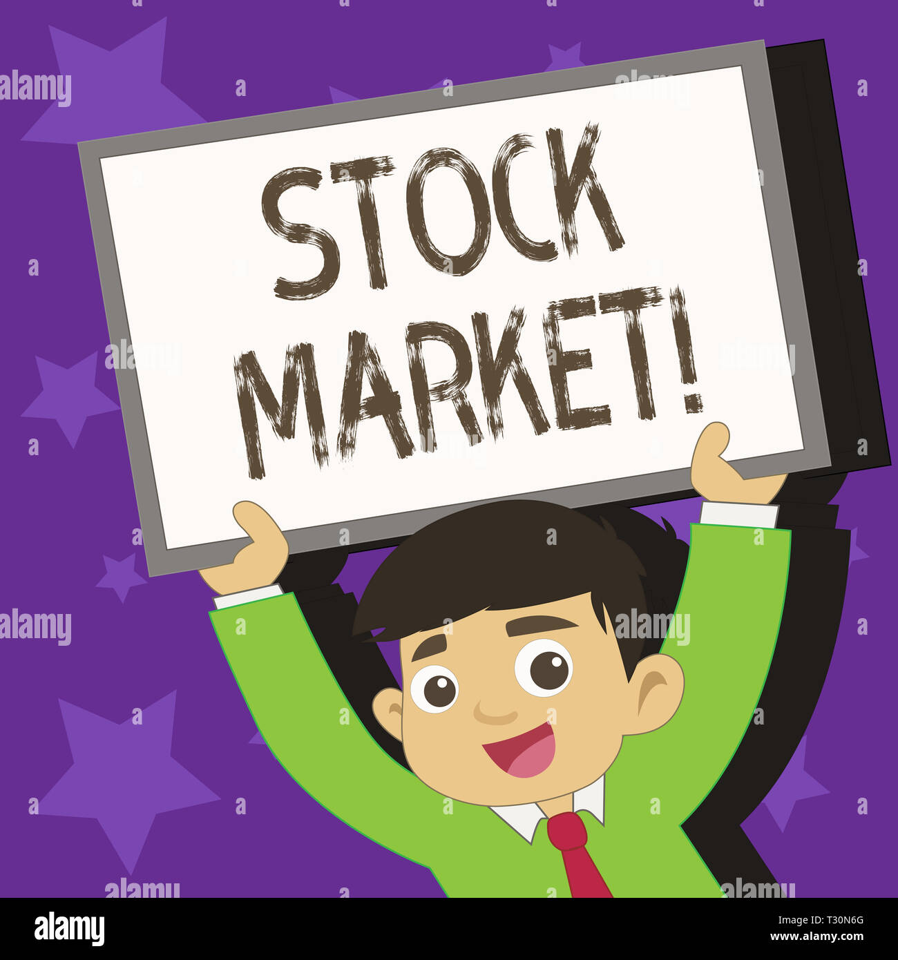 Conceptual hand writing showing Stock Market. Concept meaning collection markets exchanges where activities of buying selling Young Student Raising Up - Stock Image