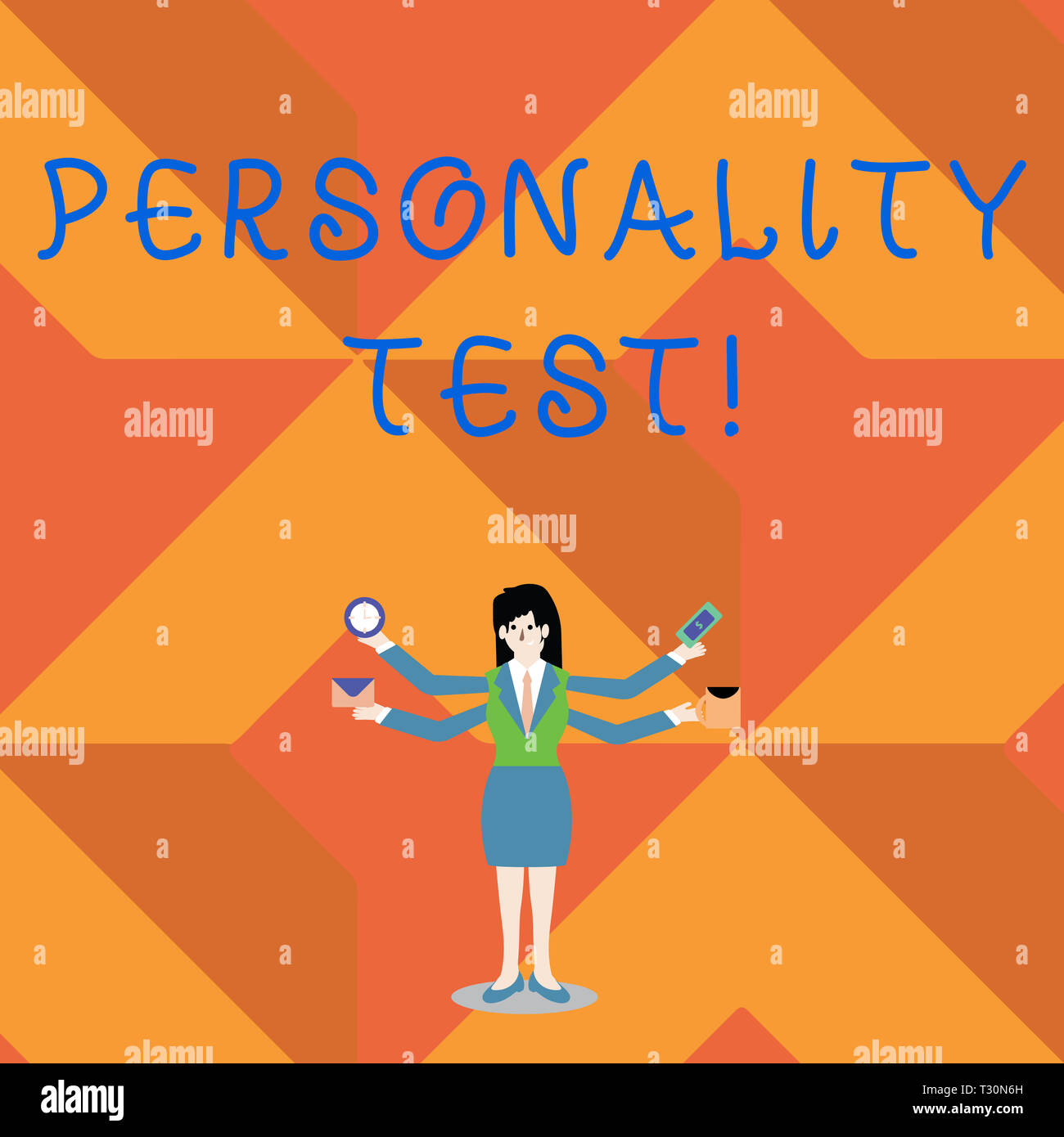 Writing note showing Personality Test. Business concept for method used assessing huanalysis demonstratingality constructs Woman with Four Arms Extend - Stock Image