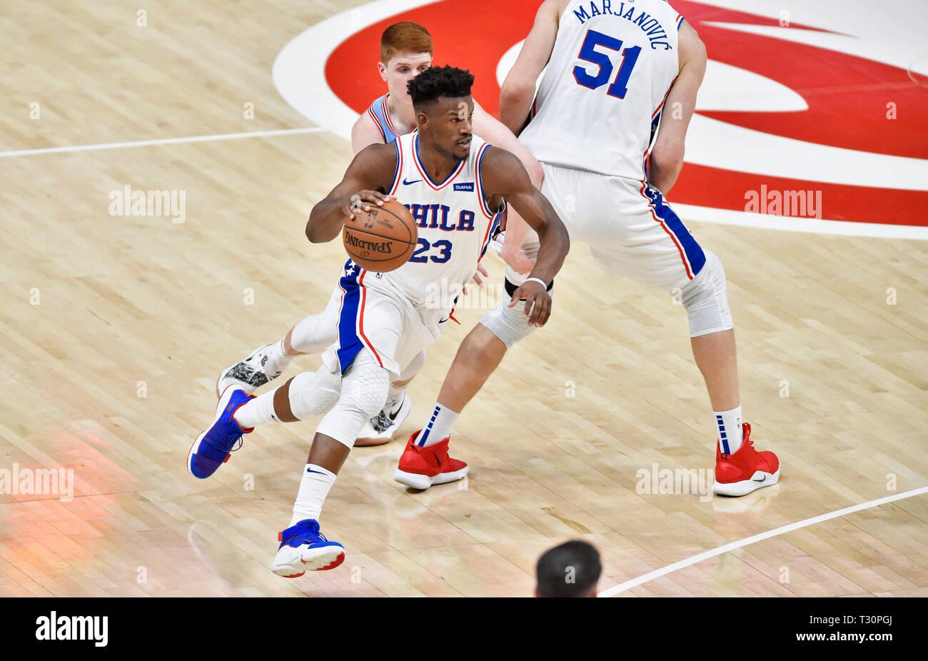 Atlanta, GA, USA  3rd Apr, 2019  Philadelphia 76ers guard