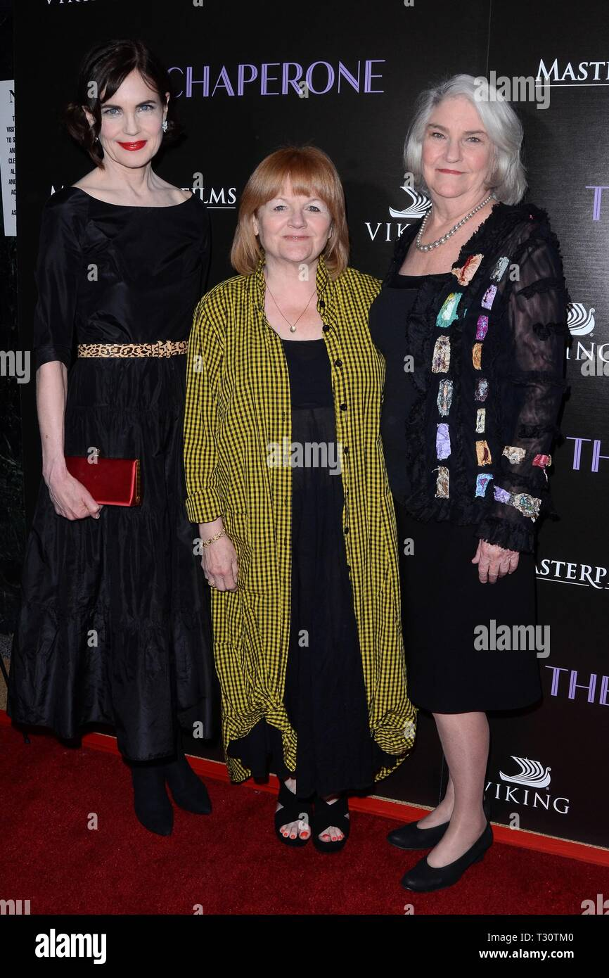 Los Angeles, CA, USA. 3rd Apr, 2019. Elizabeth McGovern, Lesley Nicol, Rebecca Eaton at arrivals for THE CHAPERONE Los Angeles Premiere, Linwood Dunn Theater, Los Angeles, CA April 3, 2019. Credit: Priscilla Grant/Everett Collection/Alamy Live News - Stock Image