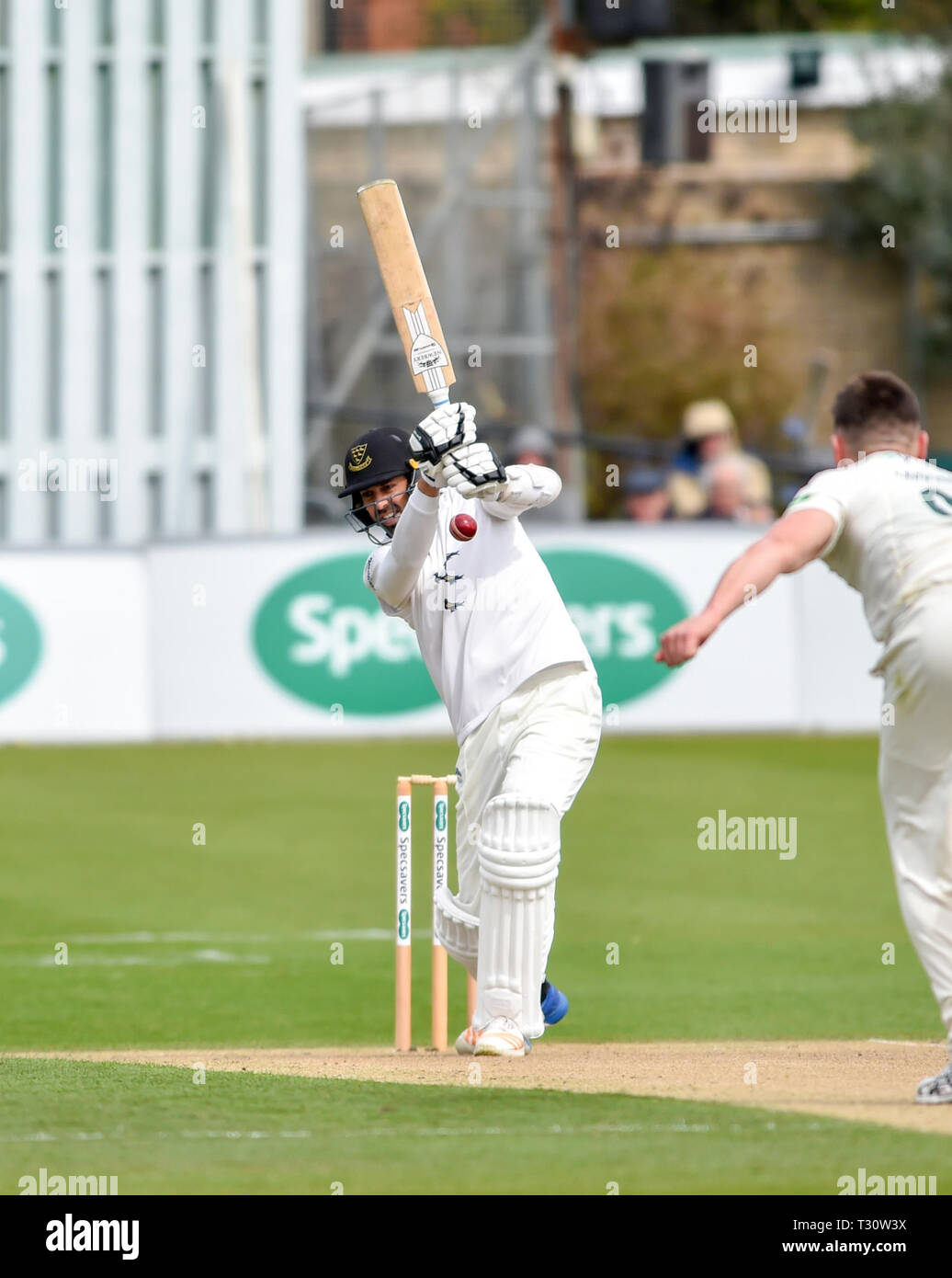 Hove Sussex, UK. 05th Apr, 2019. David Wiese batting for Sussex against Leicestershire in the Specasavers County Championship Division Two match at the 1st Central County Ground in Hove on a sunny but cool first morning of the season Credit: Simon Dack/Alamy Live News - Stock Image