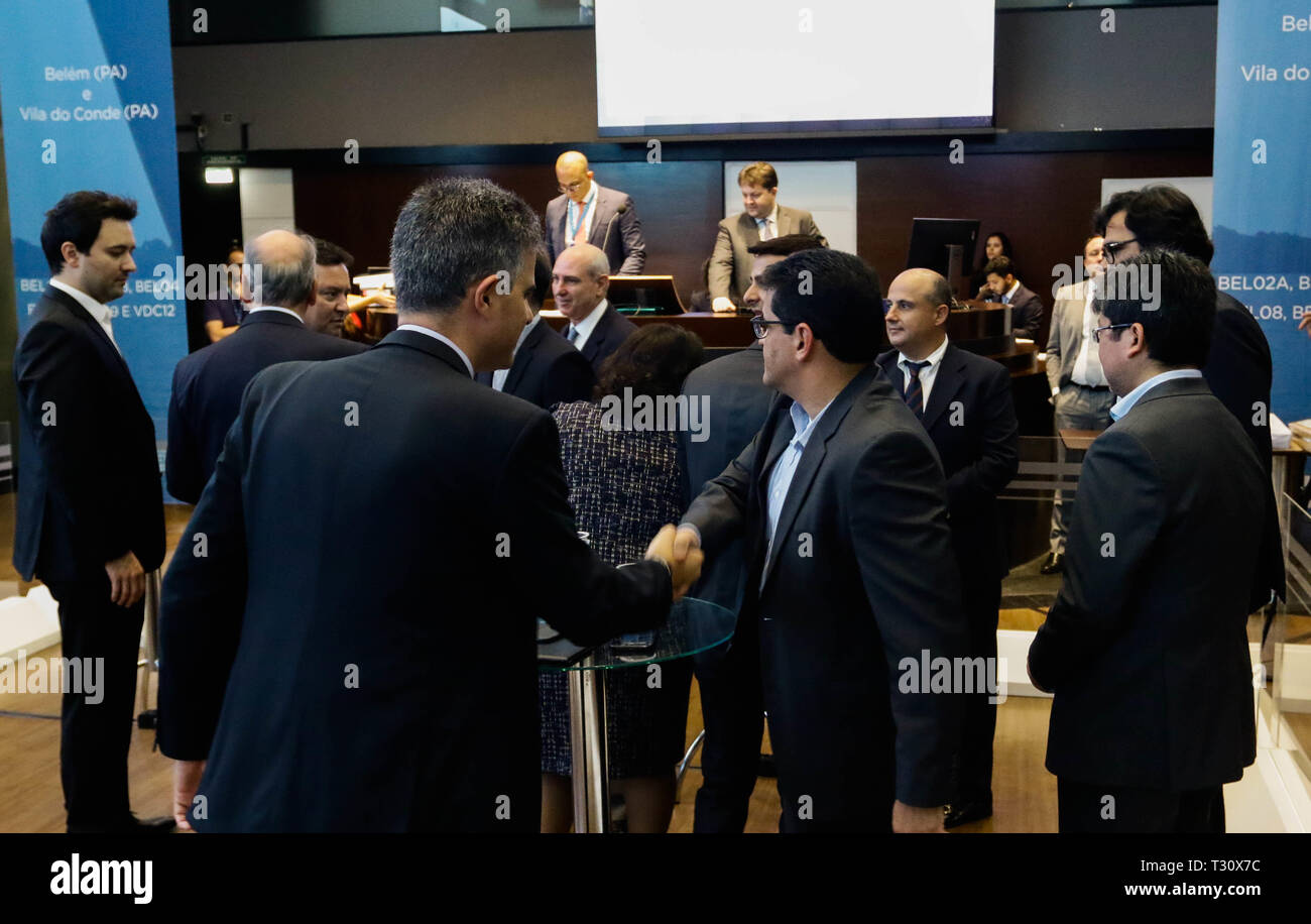 SÃO PAULO, SP - 05.04.2019: ANTAQ LEILOA ÁREAS DE PORTOS DO PARÁ - The auction of five areas in the Port of Miramar and one in Porto Vila do Conde in Pará, conducted by Agência Nacional de Transportes Aquaviários (ANTAQ), will take place on Friday (05), at the São Paulo Stock Exchange (B3) . All areas are for handling and storing liquid bulk and especially fuel. (Photo: Aloisio Mauricio/Fotoarena) - Stock Image