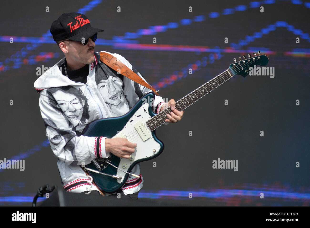 Sao Paulo, Brazil. 05th Apr, 2019. Portugal The Man performs at the Lollapalooza 2019 festival, held at the Autodromo de Interlagos in São Paulo on Friday, 05. (PHOTO: LEVI BIANCO/BRAZIL PHOTO PRESS) Credit: Brazil Photo Press/Alamy Live News - Stock Image