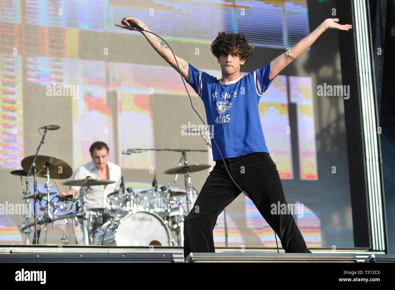 Sao Paulo, Brazil. 05th Apr, 2019. The 1975 is presented at the Lollapalooza 2019 festival, held at the Autodromo de Interlagos in São Paulo on Friday, 05. (PHOTO: LEVI BIANCO/BRAZIL PHOTO PRESS) Credit: Brazil Photo Press/Alamy Live News - Stock Image