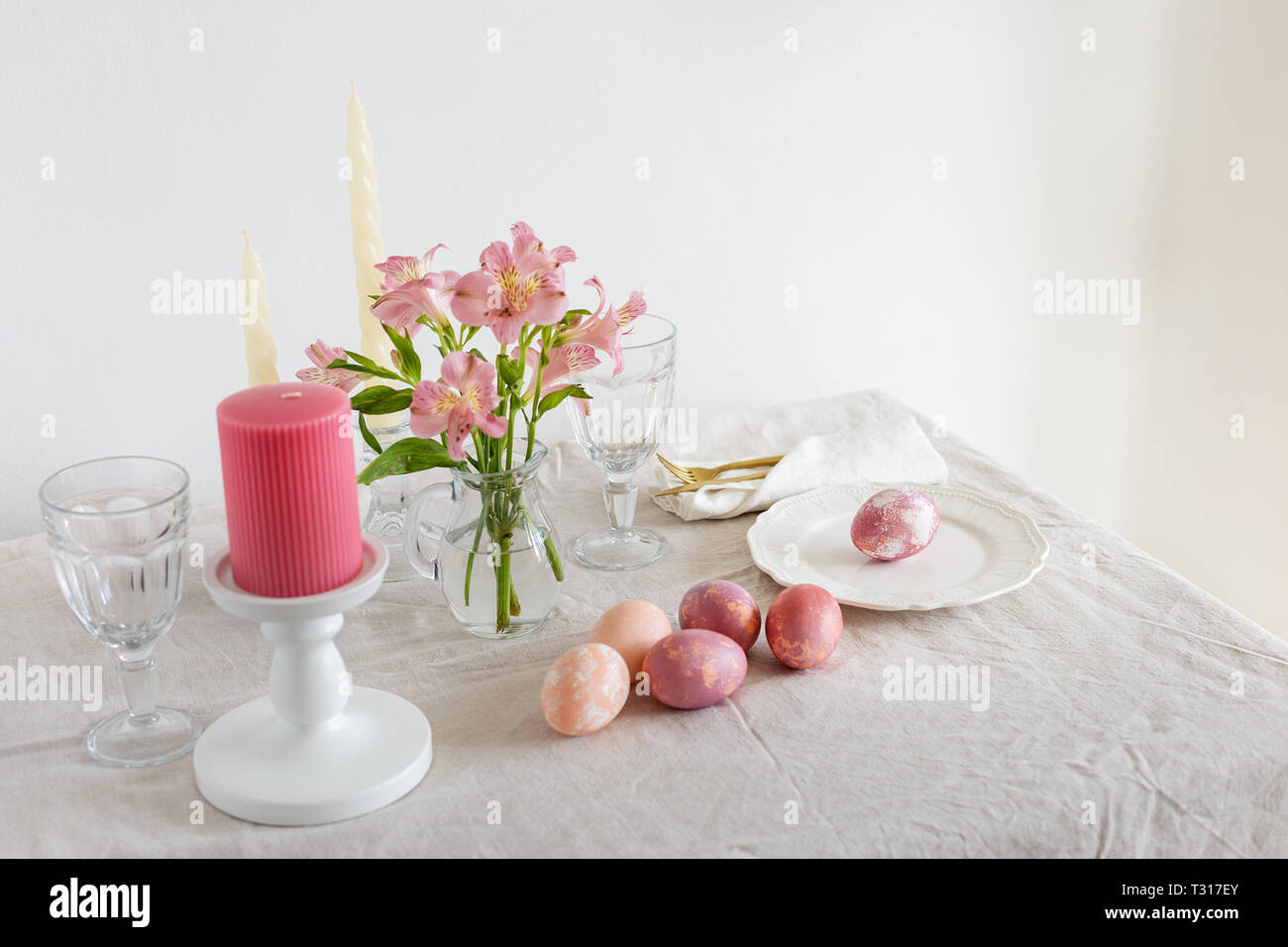 Festive Easter Spring Table Setting With Flowers, Candles ...