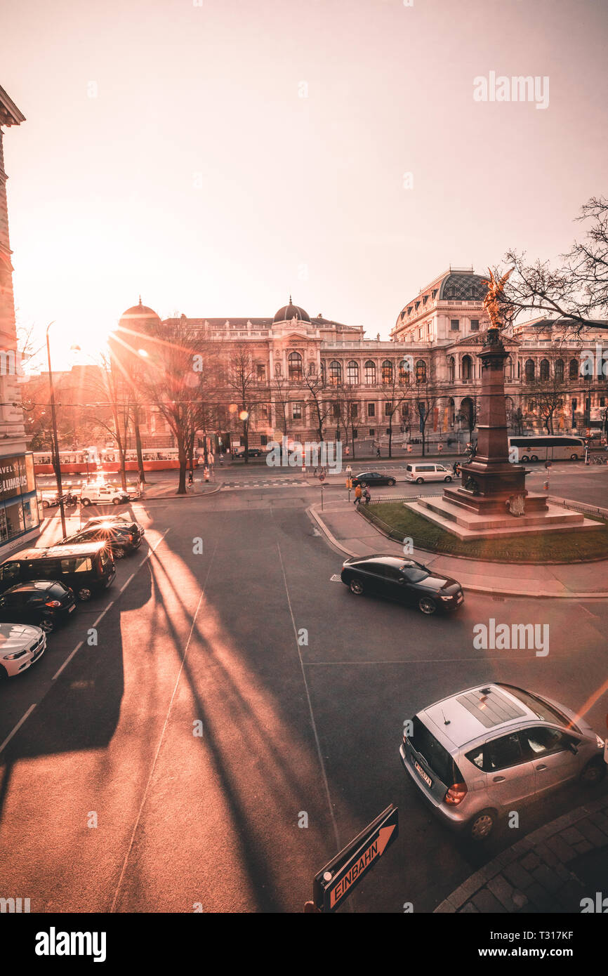 View of the University of Vienna Universitat Wien with Liebenberg memorial in Austria during spring sunset 2019 - Stock Image