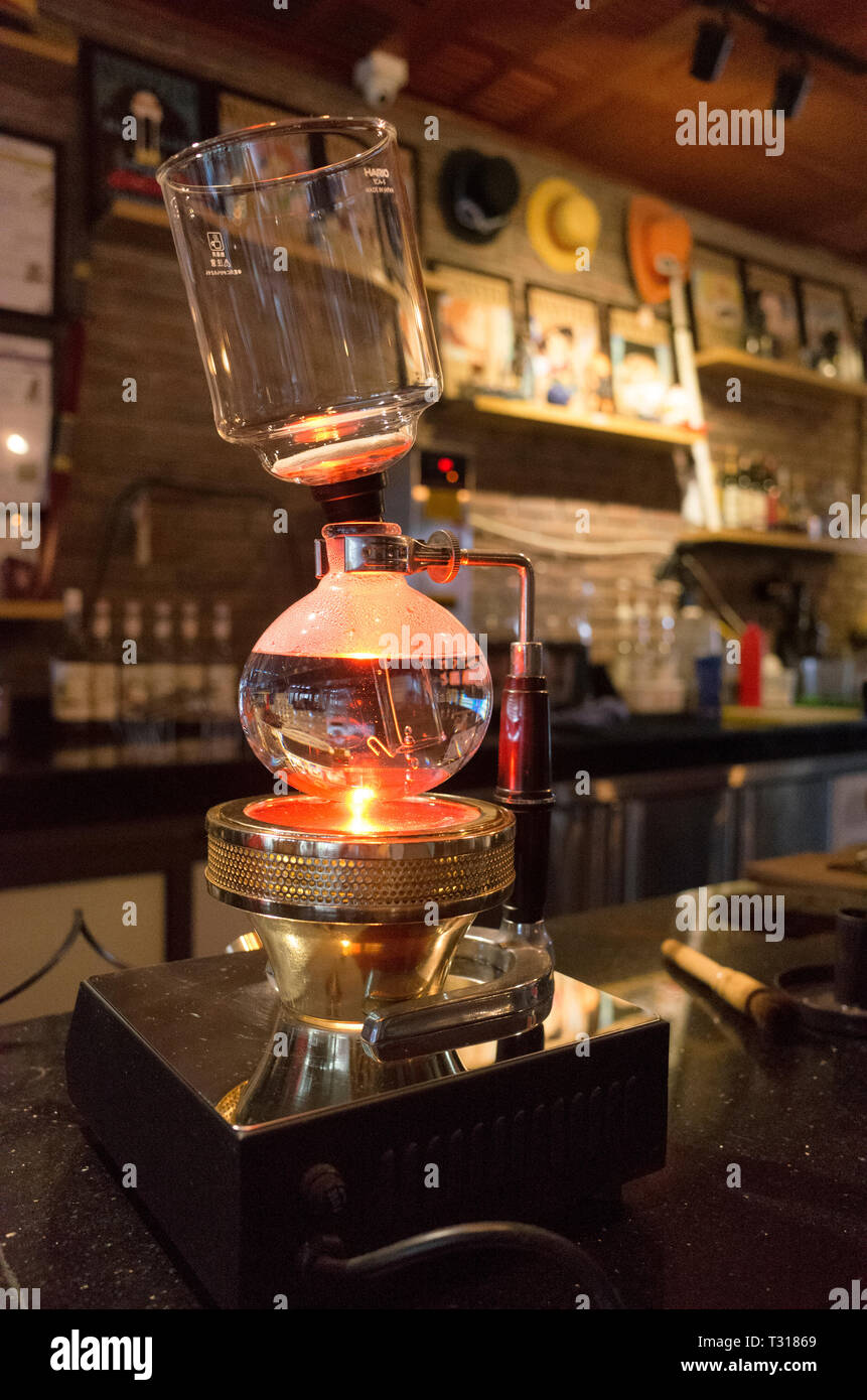 siphon coffee maker - Stock Image