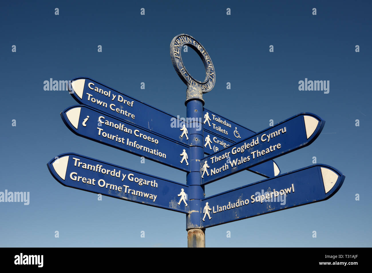 Finger post with multiple directions in clear blue sky with no clouds in Llandudno north wales uk - Stock Image