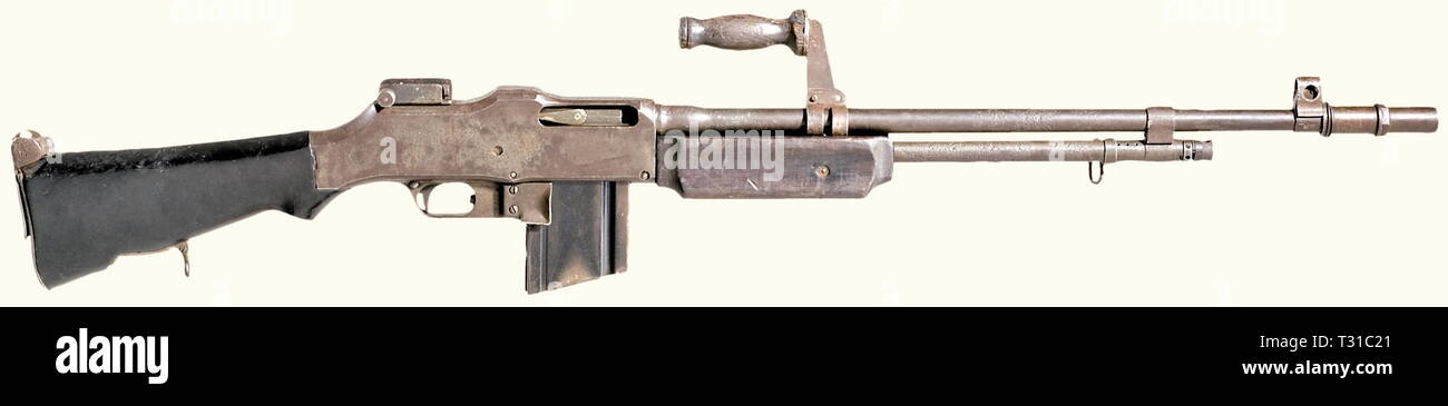 Machine guns, Browning Automatic Rifle M1918A2, calibre .30 inch, introduced 1918, Editorial-Use-Only - Stock Image