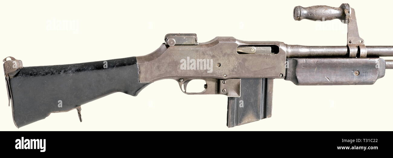 Machine guns, Browning Automatic Rifle M1918A2, calibre .30 inch, introduced 1918, detail, Editorial-Use-Only - Stock Image
