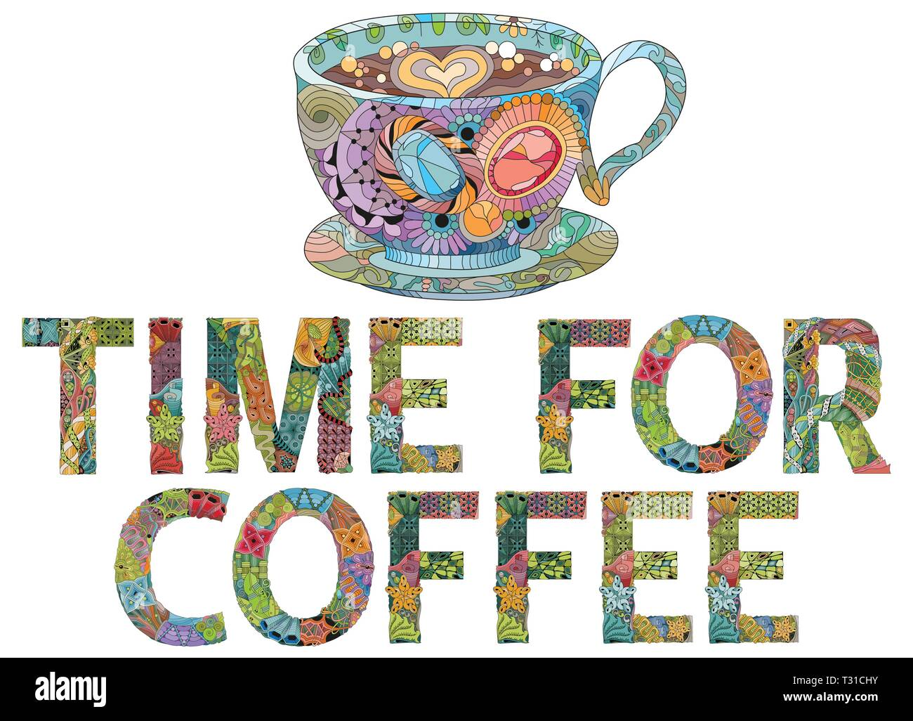 Hand-painted art design. Hand drawn illustration words TIME FOR COFFEE with cup silhouette for t-shirt and other decoration Stock Vector