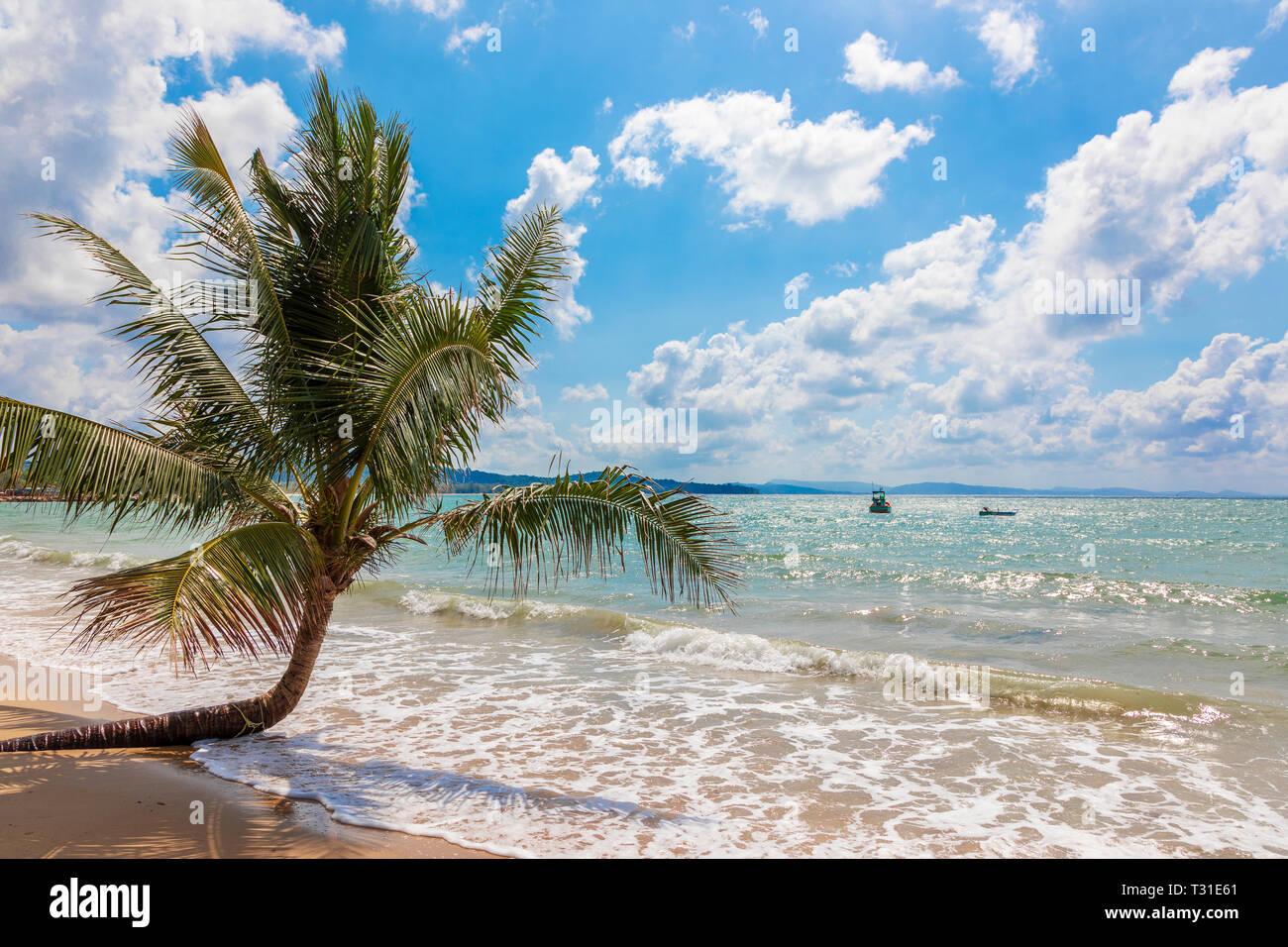 Beach scene at Bai Vung Bau, public beach Phu Quoc Island, Vietnam overlooking the Gulf of Thailand - Stock Image