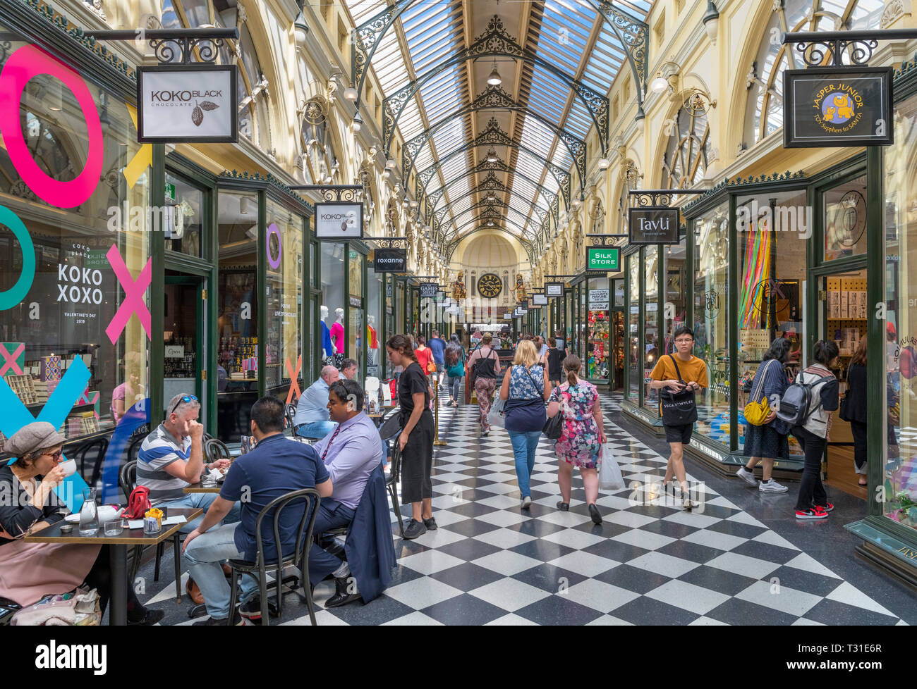 The Royal Arcade, a Victorian era shopping centre in the Central Business District (CBD), Melbourne, Victoria, Australia - Stock Image