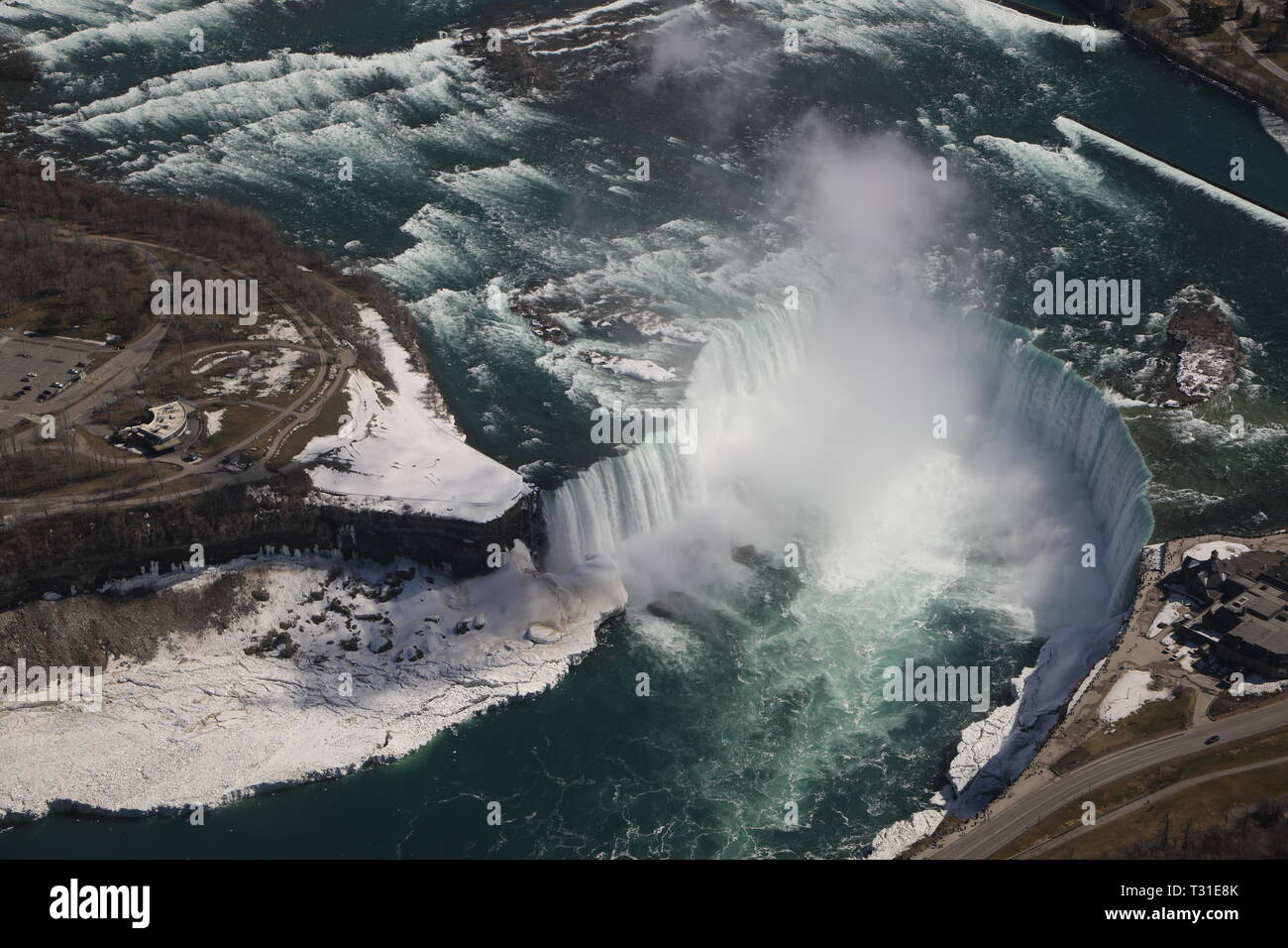 Niagara Falls from the air Winter (helicopter) - Stock Image