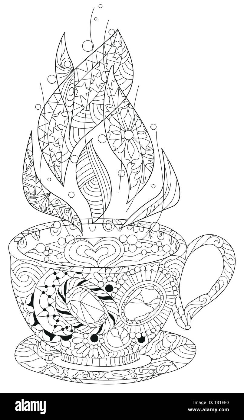 Vector Coffee Or Tea Cup With Abstract Ornaments Hand Drawn