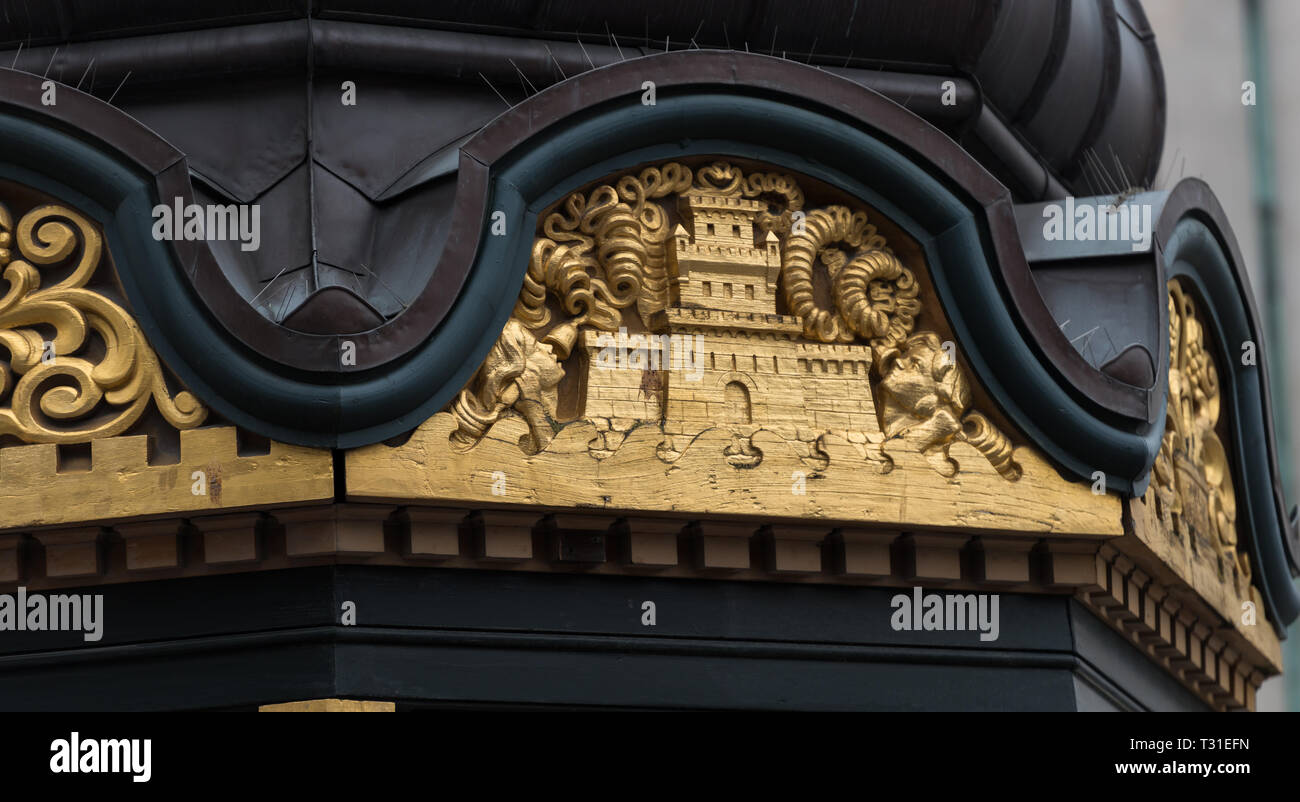 Ornate carvings on the old telephone kiosk installed in Nytorv (New Square), Copenhagen,  by Martin Jensen in 1913. It is now a drinks kiosk. - Stock Image