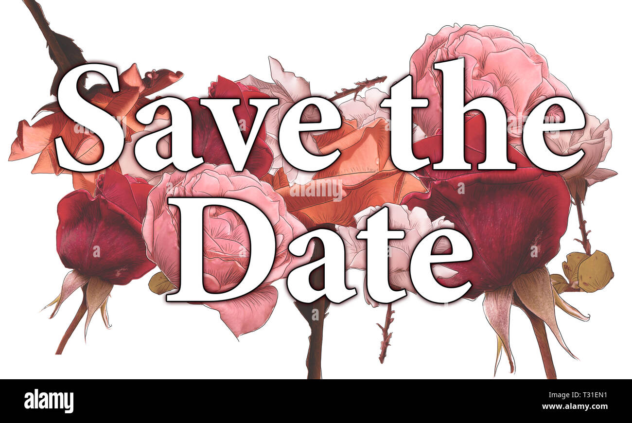 colored collage_Save The Date_red roses by jziprian - Stock Image