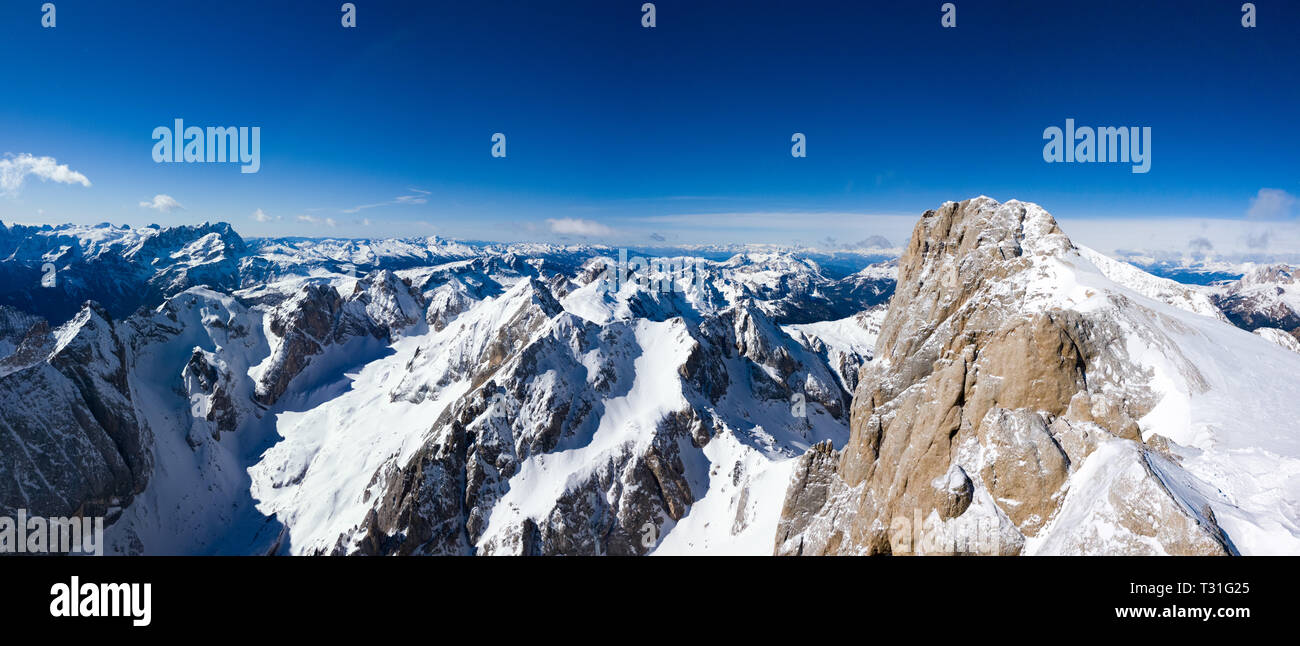 Panorama from the summit of Marmolada on a beautiful sunny day, Dolomites, Italy - Stock Image