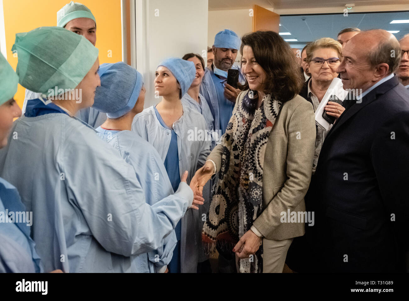 Agnès Buzin greeted the hospital staff Stock Photo