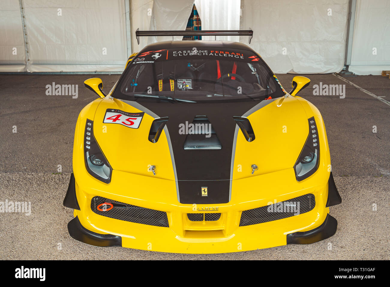 Valencia Spain March 30 2019 Yellow Ferrari 458 Speciale A Luxury Sport Car Car Showroom Front View Stock Photo Alamy